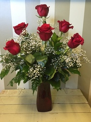 6 ROSES ARRANGED IN VASE from Catoosa Flowers in Catoosa, OK