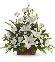 Peaceful White Lilies Basket from Catoosa Flowers in Catoosa, OK